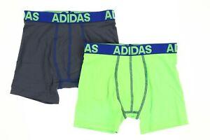Adidas 240618 Boys Kids 2-Pack Boxer Brief Underwear Green/Gray Size X-Large