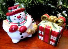 Fitz and Floyd Christmas Salt and Pepper Shakers Holiday Snowman and Present