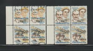 US EFO, ERROR Stamps: #C92a Wright Bros. Airmail. Color shift block of 4. NH