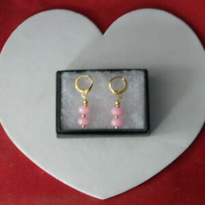 Nice Gold Plated Earrings With Pink Kunzite Gems 2.2 Cm Long + Hooks In Gift Box