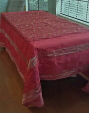 "India Cotton Red Gold Tablecloth Quilt Embroidered Wall Art Lined 134"" x 89"""