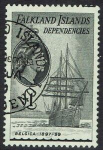 FALKLAND ISLANDS DEPENDENCIES 1954 QEII SHIP 1 POUND USED
