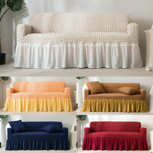 1/2/3/4 Seater Jacquard Elastic Arm Sofa Couch Cover Ruffle Slipcover Protector