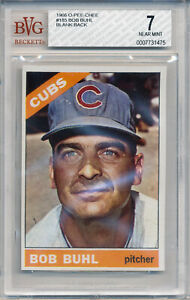 1966 O-Pee-Chee BOB BUHL #185 Rare SP Blank Back Error Chicago Cubs OPC BVG 7