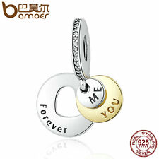 Bamoer y Authentic S925 Sterling Silver Charm You & Me Forever, Clear CZ Jewelry