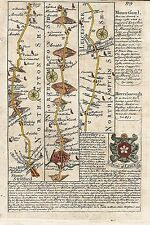 Antique map, Road from London to Darby …  commencing at Stony Stratford