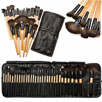 32Pcs Professional Soft Cosmetic Eyebrow Shadow Makeup Brush Set Pouch Case GB