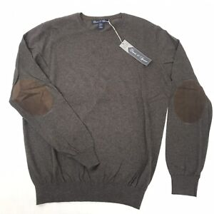 New Davis & Squire Mens Brown Cotton Cashmere Sweater, Elbow Patches. Size M NWT