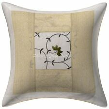 Brocade Patchwork Polydupion Cushion Cover White 16x16 Floral Pillowcase
