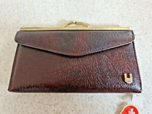 Vintage Leather Purse BNWT Brown Snap Shut Credit Card Slots Coin Section