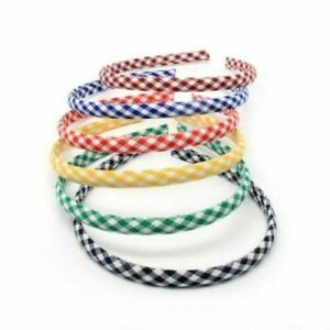 2 x No. Girls Gingham Fabric Covered Headbands / Alice Bands - School Colours