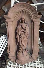 Relief Wandbild Bogenplatte Maria betend Kunst Sandstein Antik Look W 08 ROT