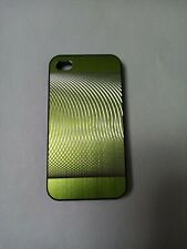Silver & GREEN back HARD case cover for Iphone 4.4s WITH SCREEN PROTECTOR