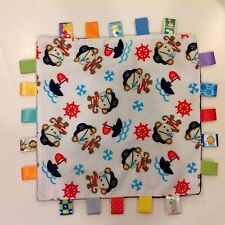 TAGGIES Pirate Monkey Ship Baby Lovey Security Blanket Authentic Toy 12 x 12 EUC