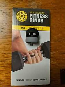 Gold's Gym Men's / Women's Silicone Fitness Rings M/L Fits Sizes 7-9 - 2 Pack