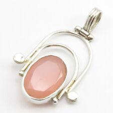 """Sterling Silver Rose Quartz Pendant 1.4"""" Art SilverStarJewel Jewelry"""