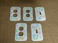 Vtg American Tack Hardware 2 plastic switch plate cover floral tulip 3 outlet