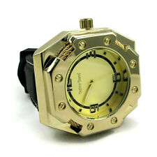 Octagon Rope Shape Heavy Mens Gold Tone Big Bling Man Chunky Thick Hip Hop Watch