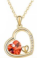 Oro & Rosso Cuore Ciondolo Love CRISTALLO COLLANA N344