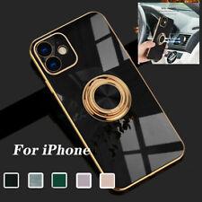 Para iPhone 11 12 Pro Max XS Xr X 8 7 Plus Chapado Anillo Soporte Cubierta Estuche Blando