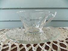 2 Piece Vintage Hazel Atlas Clear Glass Capri Dot Tea Cup & Saucer Plate