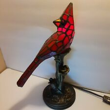 Novelty Stained Glass Red Cardinal Accent Lamp Electric Cast Metal Base