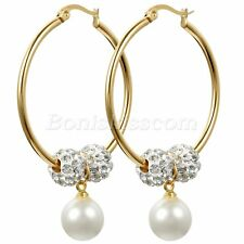 Women's Gold Tone Steel Circle Rhinestone Imitation Pearl Dangle Hoop Earrings