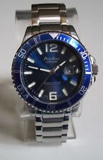 MEN'S SILVER/BLUE FINISH DATE FASHION INSPIRED STYLE DRESSY/CASUAL WATCH