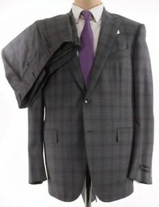 Ermenegildo Zegna NWT Suit SZ 44R In Gray With Bold Purple Plaid Milano $2,995