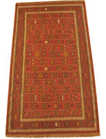 feiner Kelim Läufer Qouchan 120 x 215 cm  Nomaden Teppich Wolle kilim tribal rug