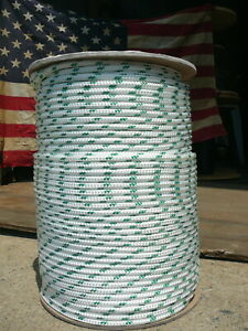 """Sailboat Rigging Rope 1/4"""" x 22' White/Green Double Braided Sheet Halyard Line"""