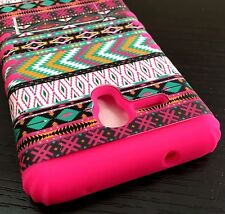 For Alcatel One Touch Fierce XL - HYBRID IMPACT ARMOR CASE HOT PINK AZTEC TRIBAL