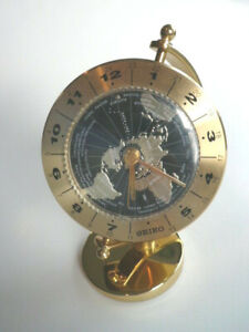 Seiko World Time Table Clock Brass Case with Gimbaled Design QHG106GLH