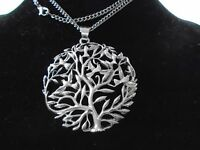 """Big 63 mm Silver Celtic Tree of Life statement 2.5"""" Pendant Gothic Necklace new"""