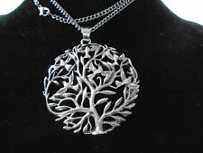 "Big 63 mm Silver Celtic Tree of Life statement 2.5"" Pendant Gothic Necklace new"