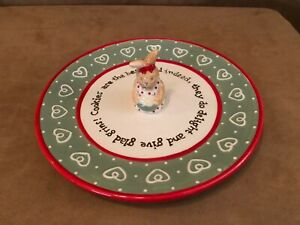 Bunnies by the Bay Cookie Plate Rabbit Hearts Dots Red Green easter 2002