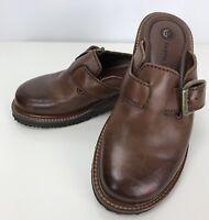 Womens Earth Shoe Sz 5 Brown Leather Monk Strap Slip On Mule Slides Clogs