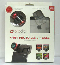 NEW Olloclip 4-IN-1 Lens + Quick-Flip Clear Case for iPhone 5/5s/SE Red Lens