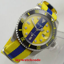 40mm bliger blue & yellow dial sapphire crystal automatic movement mens watch131