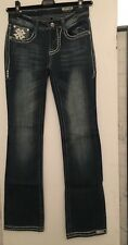 NWOT Rose Royce Blue Embroidered Rain Stones Jeans Boot Cut SZ 27 5/6