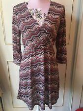Ladies Aztec Dress Size 14 BNWT Melia London Wrap Design Front Fit & Flare