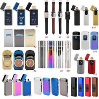USB Electric Dual Arc Flameless Torch Windproof Cigarette Lighter Rechargeable
