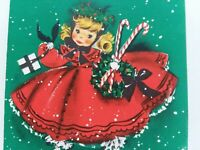 UNUSED Vtg GIRL Fancy DRESS Candy Cane 1960s Hallmark CHRISTMAS GREETING CARD