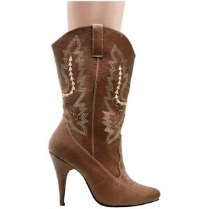 Womens Cowboy Boots High Heel Adult Cowgirl Western Costume Shoes Fancy Dress