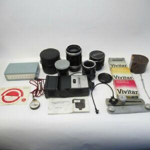 Lot of 5 Camera Lenses & Accessories Carl Zeiss Asahi Voigtlander Flash, Filters