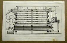 Original 1852 Engraving & Text Machine for Separating Starch From Potatoes