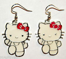 "#16087 Hello Kitty White w/Red Bow ""SANRIO"" Licensed Charm Dangle Earrings"