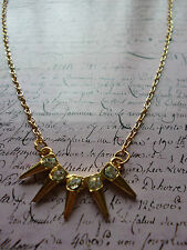 Gold Dainty Spike Punk Crystal Jewellery Necklace