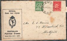 1937 KING GEORGE VI 1d & 2d PRE-DECIMAL STAMP OFFICIAL FIRST DAY COVER #P33