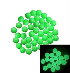 Pkg of GREEN ROUND HARD Glow in the Dark Acrylic Beads for Crafts or Fishing